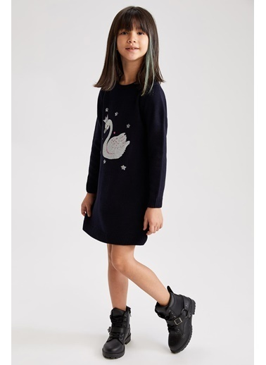 DeFacto Kız Çocuk Kuğu Figürlü Triko Elbise Lacivert